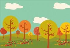 卡通可爱儿童画插画背景风景素材
