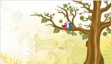 唯美可爱卡通风格树林草地背景