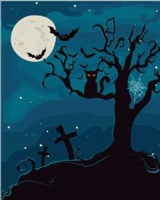 万圣节卡通背景夜空素材