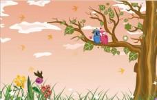 树草地草坪大树小鸟唯美插画背景