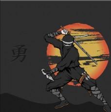 忍者武士日本元素黑天月亮卡通素
