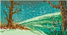 卡通手绘雪天背景海报模板素材