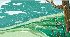 下雪插画雪景树草地唯美卡通设计