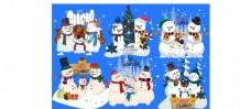 多组卡通雪人矢量