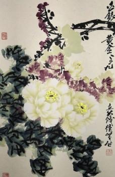 精品竖幅国画牡丹 王跃峰画
