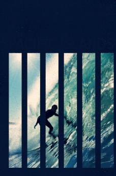 冲浪摄影剪切潮流艺术海报