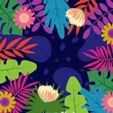彩色花卉和 树叶框架