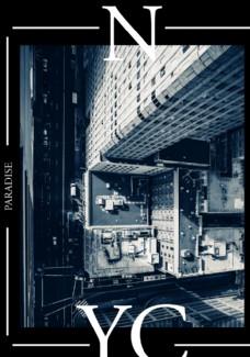 黑白城市高空摄影剪切潮流艺术