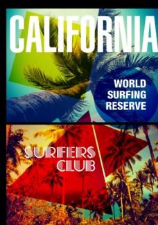 彩色偏光椰子树摄影潮流艺术海报