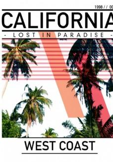 椰子树摄影剪切潮流艺术海报