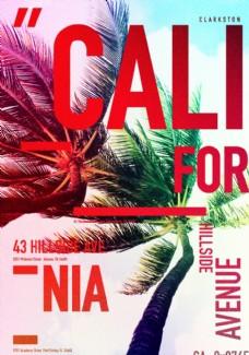 炫彩椰子树摄影剪切潮流艺术海报