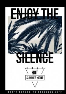 黑白椰子树摄影剪切潮流艺术海报