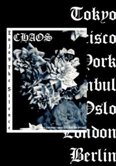 黑白玫瑰和哥特字母拼贴潮流艺术