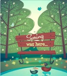 天鹅湖卡通自然风景设计素材背景
