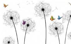 3D玫瑰蝴蝶背景墙
