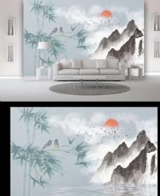 山水花鸟电视背景墙