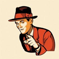 用手指绅士商务人士卡通人物素材