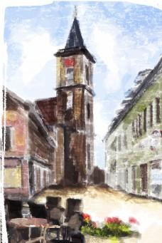 水彩建筑图钟楼古典房子