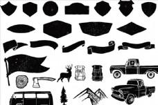 黑白磨损汽车盾牌纹章