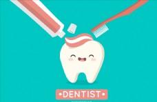 可爱创意刷牙插画设计