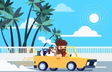 创意 开车旅行的 男子和宠物狗