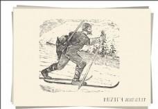滑雪的男子素描画