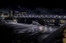 城市 建设 结构 夜 市容 河