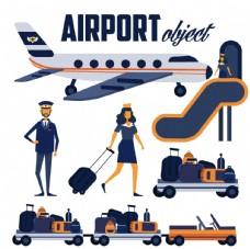创意飞机场元素