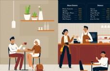 咖啡店场景插画设计