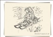 滑雪的男孩女孩 素描画