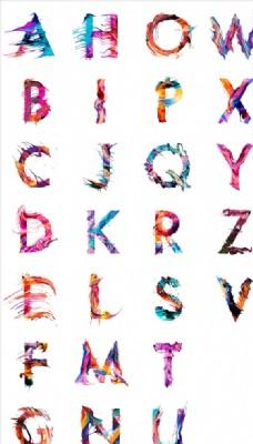 油彩喷溅效果英文字母