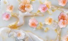 玉雕花朵小清新樱花梨花背景墙
