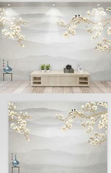 新中式手绘电视背景墙沙发背景墙
