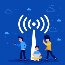 wifi网络信号插画设计