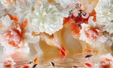 玉雕牡丹九鱼图电视背景壁画图