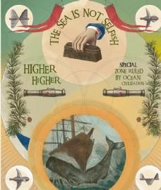 航海浪鲸鱼探险帆船复古圆形插图