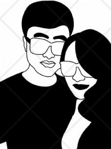 情人节男女合影时尚潮流黑白插画