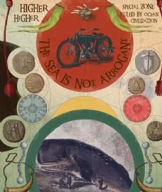 摩托大海浪鲸鱼金币探险复古插图