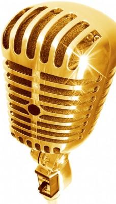 麦克风金话筒唱歌卡通png素材