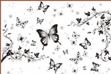 蝴蝶花纹 矢量蝴蝶