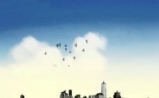 城市风光白鸽蓝天